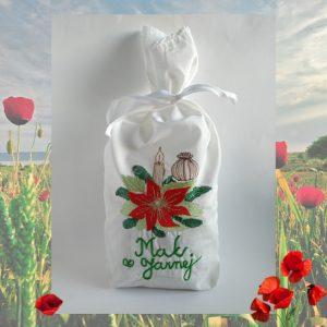 Ručne vyšívané vrecko Vianočná ruža