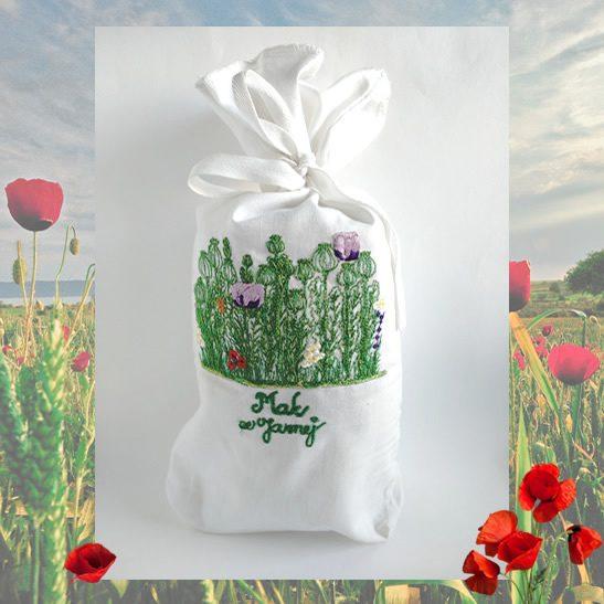 Vyšívané vrecko na 1 kg maku - makové pole