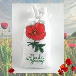 Vyšívané vrecko na 1 kg maku - červený makový kvet
