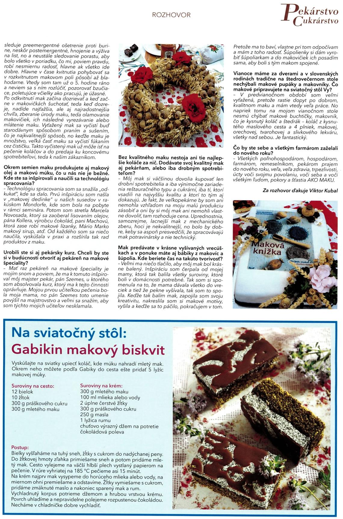Mak z Jarnej - Gabriela Čechovičová -Pekárstvo Cukrárstvo , vydanie 06.2017